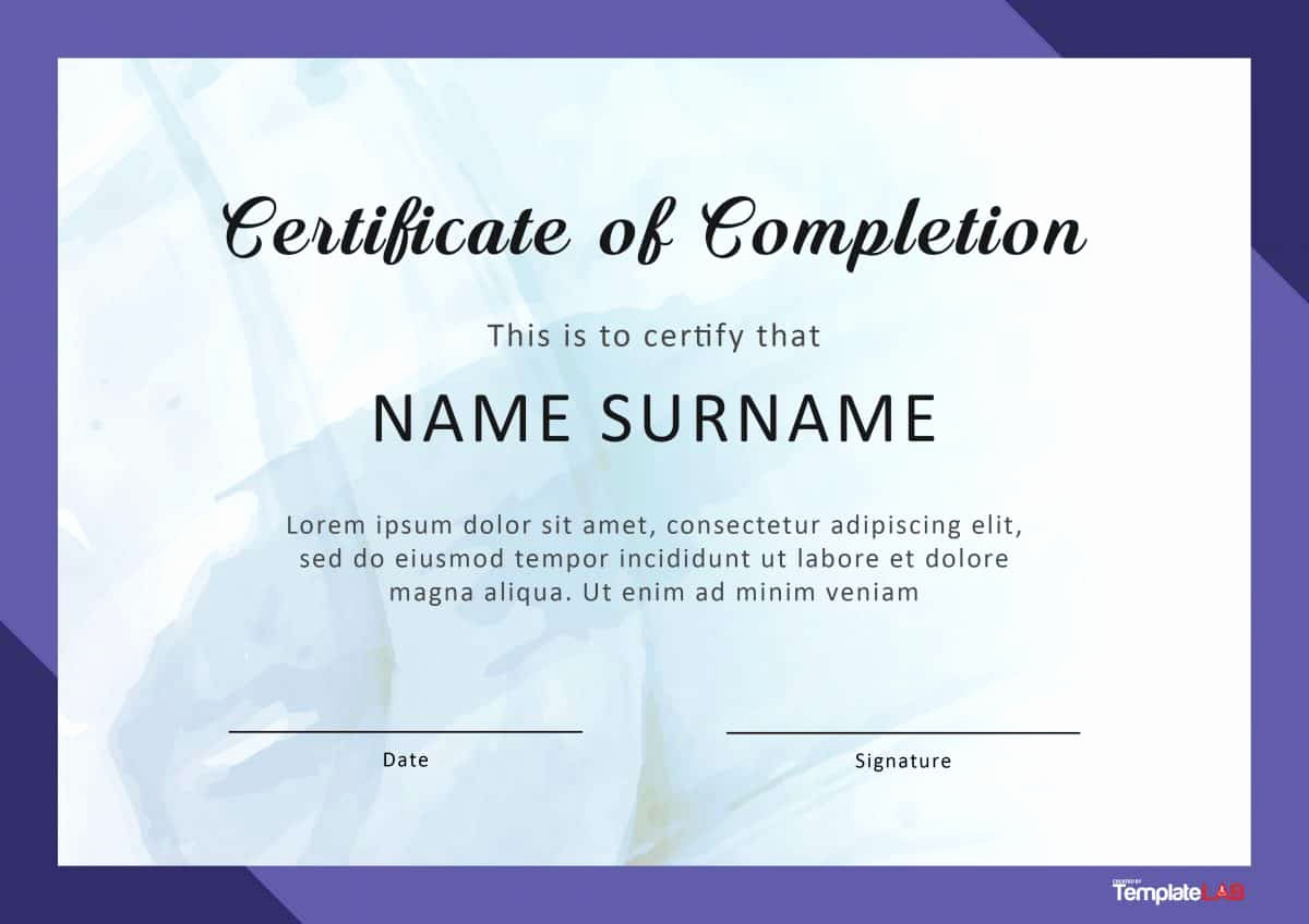 Certificates Of Completion Template Inspirational 40 Fantastic Certificate Of Pletion Templates [word