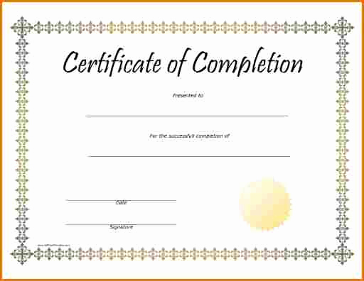 Certificates Of Completion Template Inspirational Blank Certificate Pletion – Printable Birthday