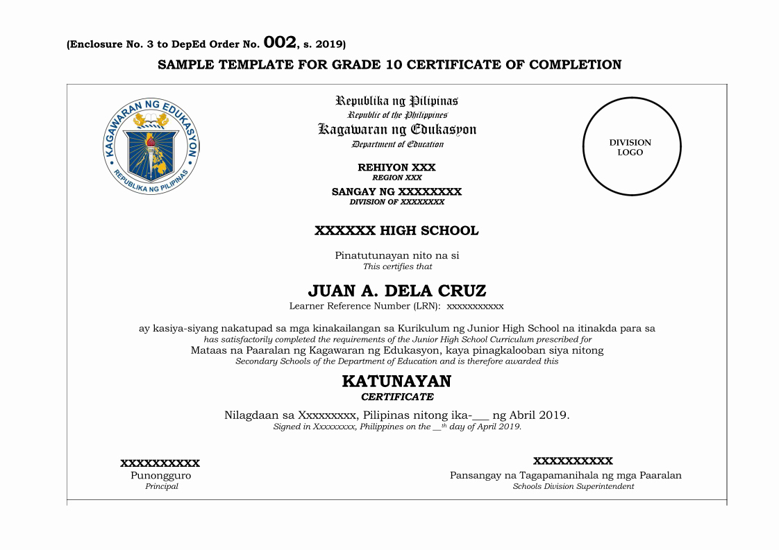 Certificates Of Completion Template Lovely K to 12 Basic Education Program End Of School Year Rites S