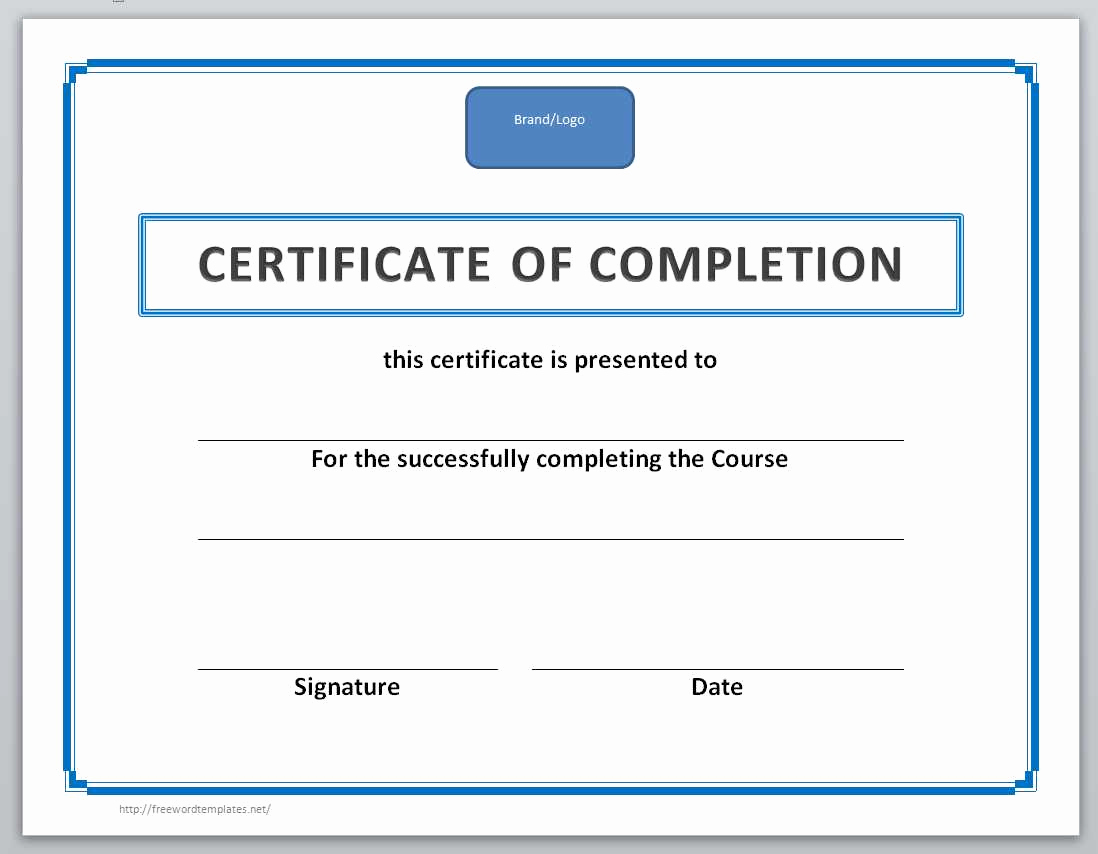 Certificates Of Completion Template Luxury 13 Free Certificate Templates for Word Ficetemplate