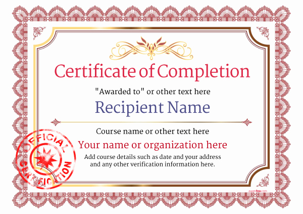 Certificates Of Completion Template Luxury Certificate Of Pletion Free Quality Printable
