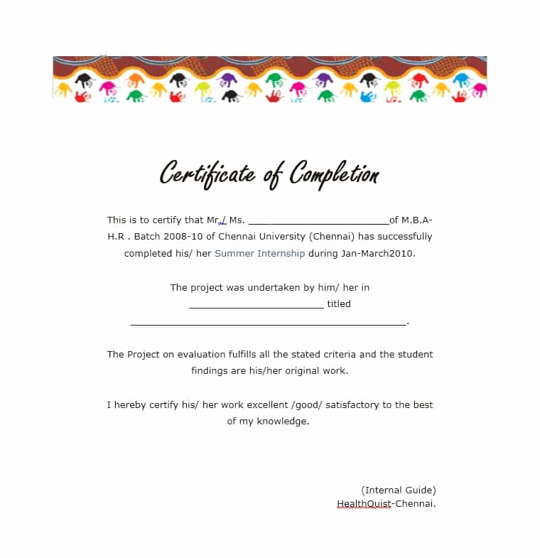 Certificates Of Completion Template New 40 Fantastic Certificate Of Pletion Templates [word