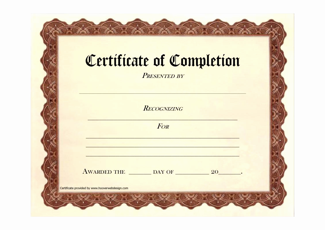 Certificates Of Completion Template New Free Blank Certificate Templates