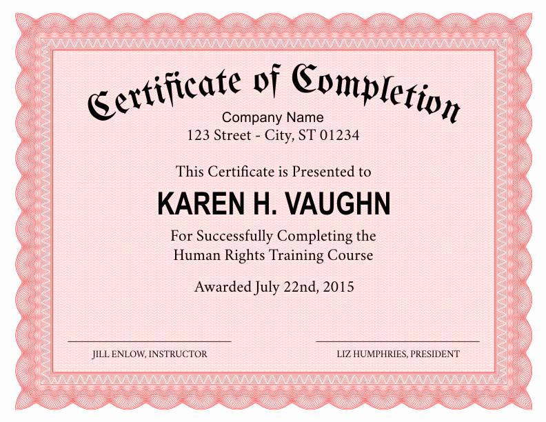 Certificates Of Completion Template Unique formal Certificate Of Pletion Template