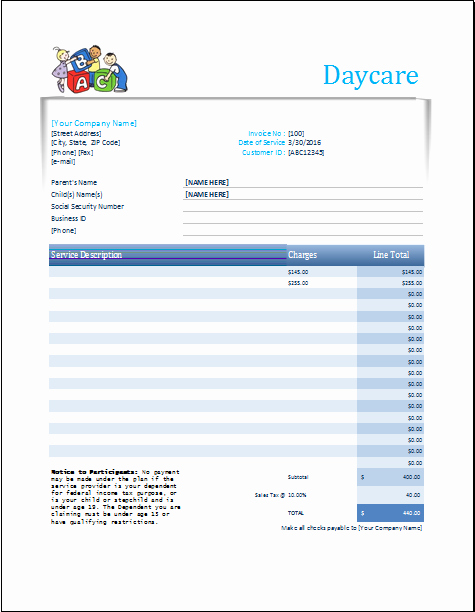Child Care Invoice Template Elegant Daycare Receipt Excel Template