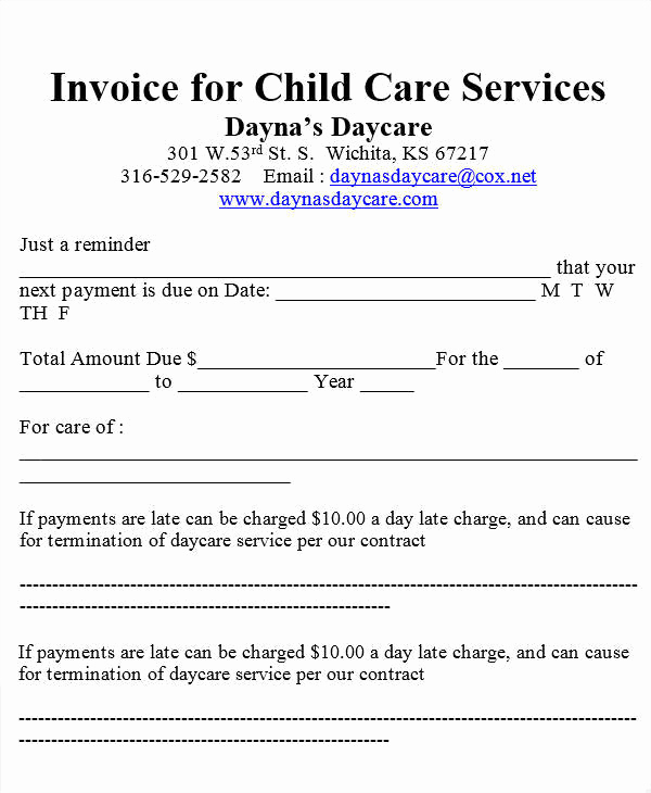Child Care Invoice Template Luxury Free 7 Daycare Invoice Templates In Ms Word
