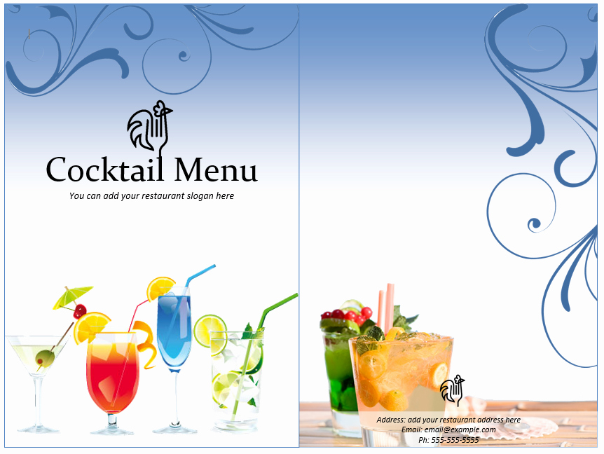 Cocktail Menu Template Free Awesome Cocktail Menu Template Word Templates