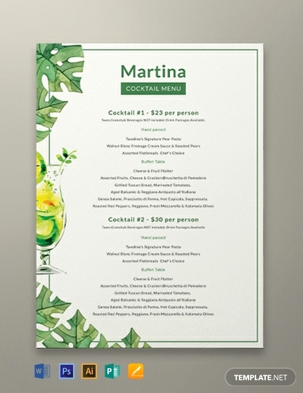 Cocktail Menu Template Free Best Of 11 Drinks Menu Templates Illustrator Shop Ms Word