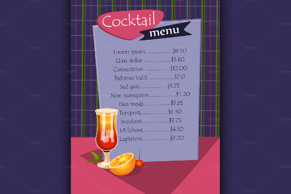 Cocktail Menu Template Free Best Of Cocktail Menu Templates 59 Free Psd Eps Documents