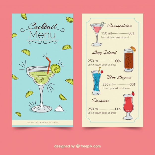 Cocktail Menu Template Free Elegant Creative Cocktail Menu Template Vector