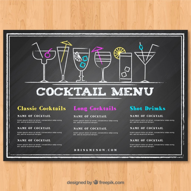 Cocktail Menu Template Free Fresh Cocktail Menu Template In Blackboard Style Vector