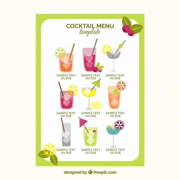 Cocktail Menu Template Free Fresh Cocktail Menu Template In Flat Design Vector