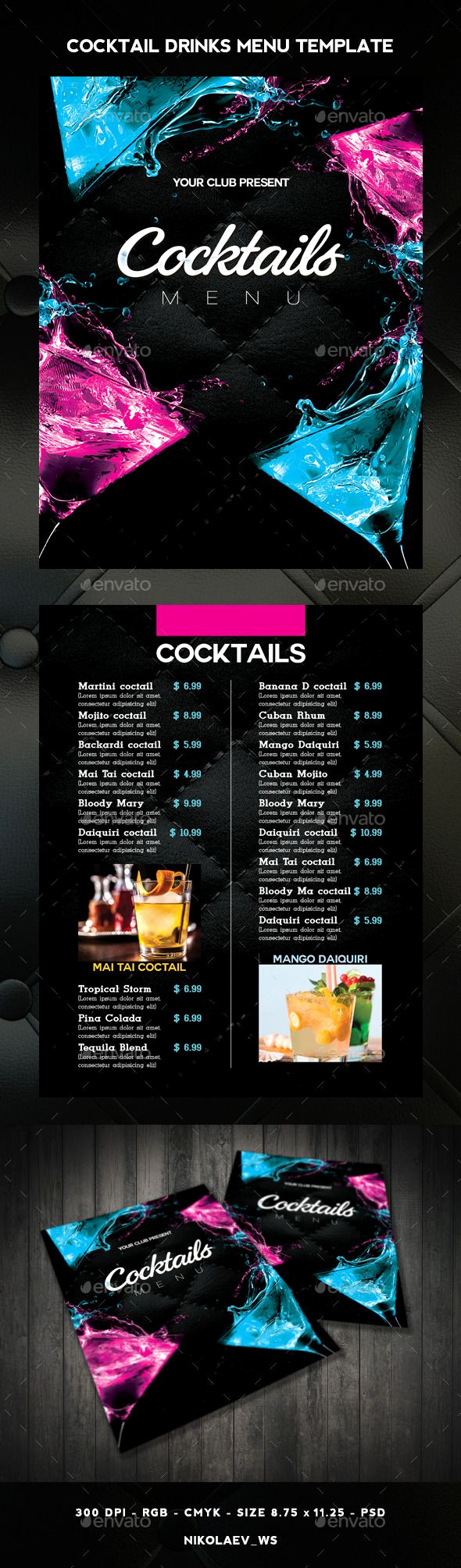Cocktail Menu Template Free Inspirational Cocktail Drinks Menu