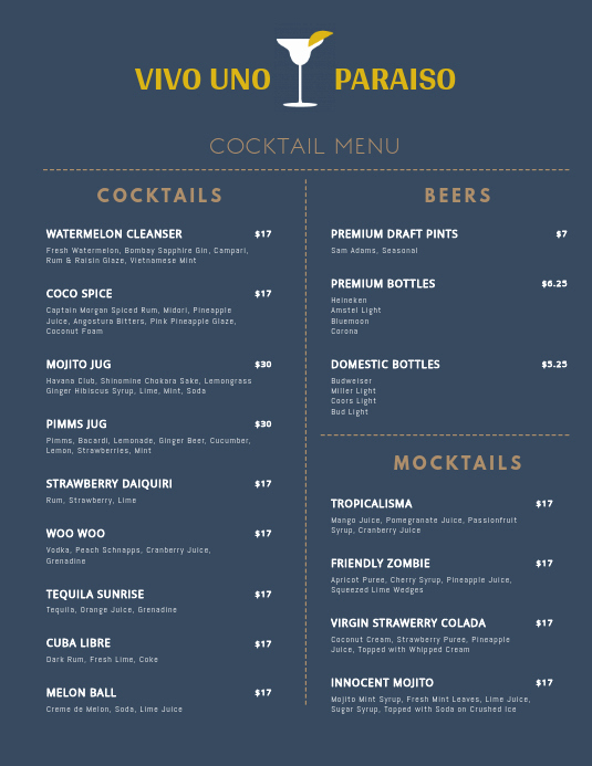 Cocktail Menu Template Free Lovely Minimal Cocktail Menu Template