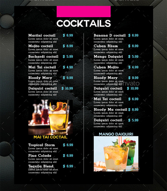 Cocktail Menu Template Free Luxury Cocktail Menu Templates 59 Free Psd Eps Documents