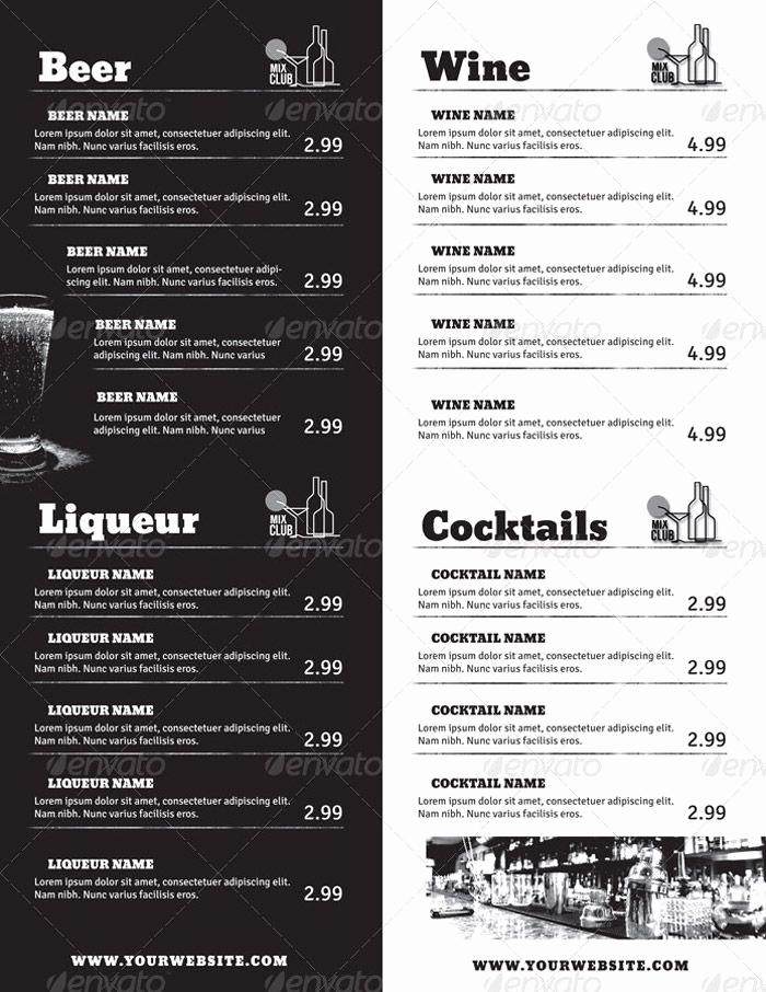 Cocktail Menu Template Free Luxury Drink Menu