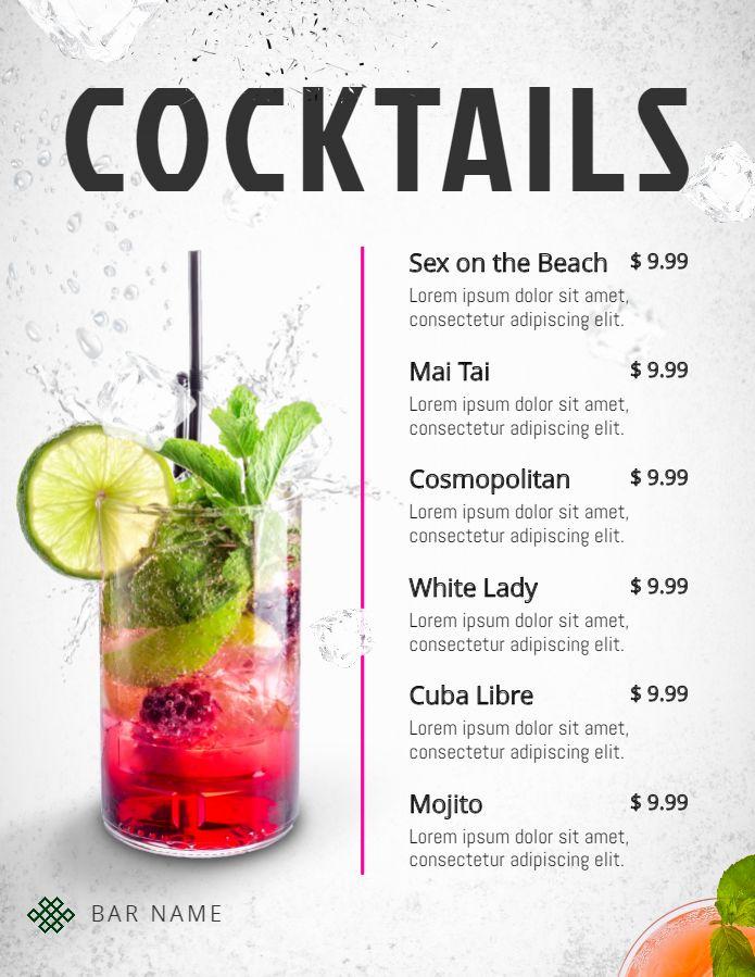 Cocktail Menu Template Free Luxury Printable Modern Cocktail Menu Template