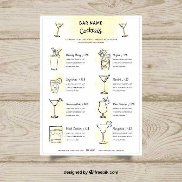 Cocktail Menu Template Free New 23 Printable Premium and Free Drink Menu Templates