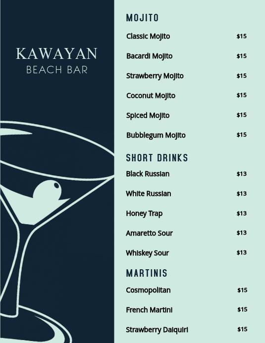 Cocktail Menu Template Free Unique Cocktail Bar Menu Template