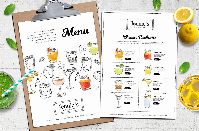 Cocktail Menu Template Free Unique Contemporary Cocktail Menu Template In Psd Ai & Vector In