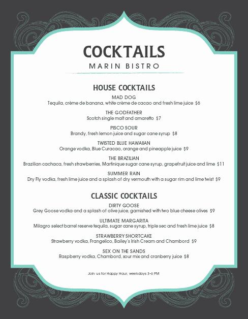 Cocktail Menu Template Free Unique Frozen Cocktail Menu