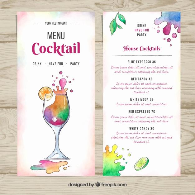 Cocktail Menu Template Free Unique Summer Cocktail Menu Template Vector