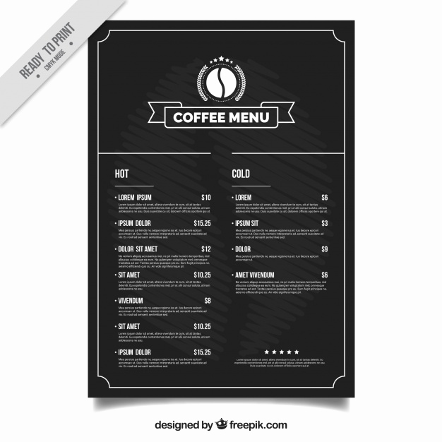 Coffee Shop Menu Template Free Awesome Coffee Shop Menu Template Vector
