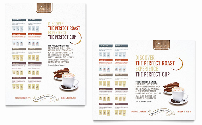 Coffee Shop Menu Template Free Awesome Coffee Shop Poster Template Word & Publisher
