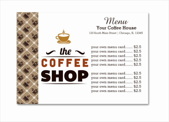 Coffee Shop Menu Template Free Beautiful 20 Coffee Menu Templates – Free Sample Example format