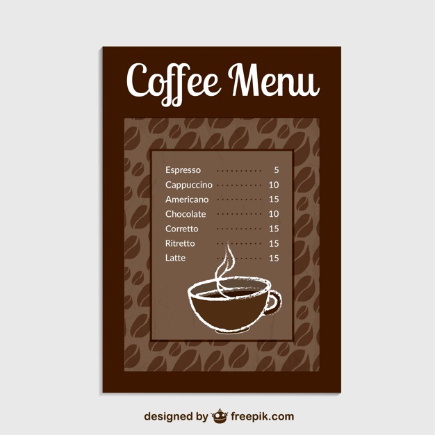 Coffee Shop Menu Template Free Elegant Coffee Menu Template Vector