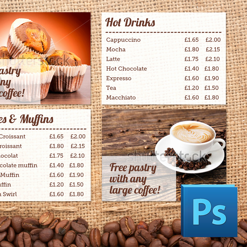 Coffee Shop Menu Template Free Elegant Coffee Shop Menu Board Psd Template
