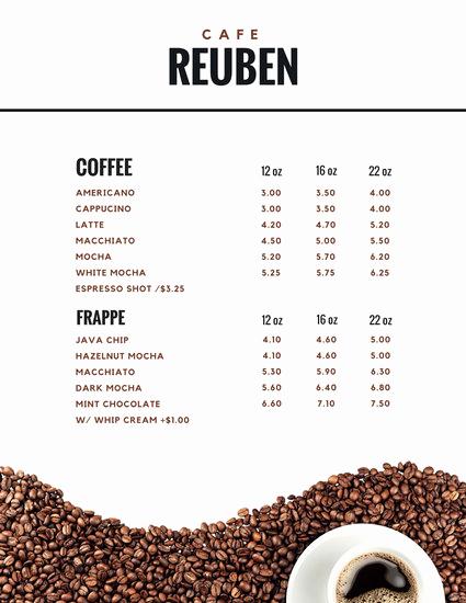 Coffee Shop Menu Template Free Fresh Brown Coffee Beans and A Cup Coffee Cafe Menu