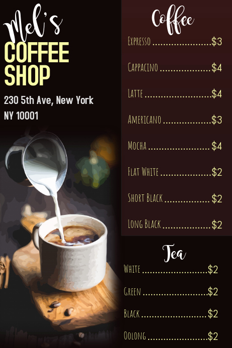 Coffee Shop Menu Template Free Fresh Coffee Shop Menu Template
