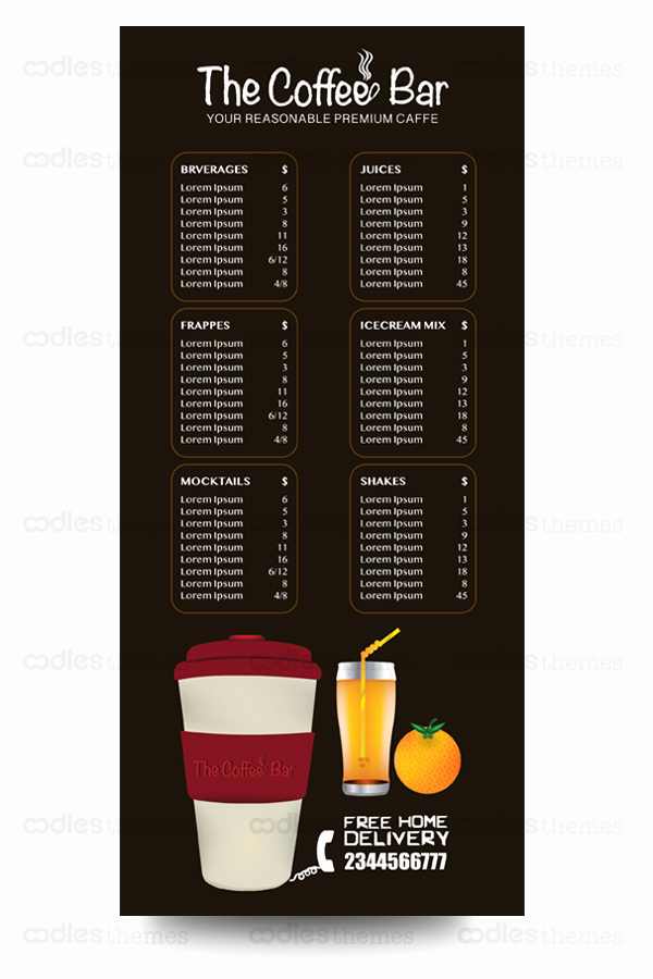 Coffee Shop Menu Template Free Fresh Free Coffee Shop Menu Template – Oodlesthemes