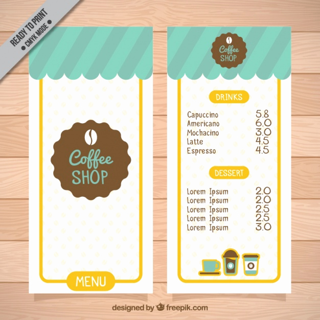 Coffee Shop Menu Template Free Inspirational Coffee Shop Menu Template Vector