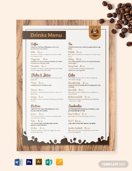 Coffee Shop Menu Template Free Lovely 10 Cafe Menu Templates Illustrator Pages Indesign
