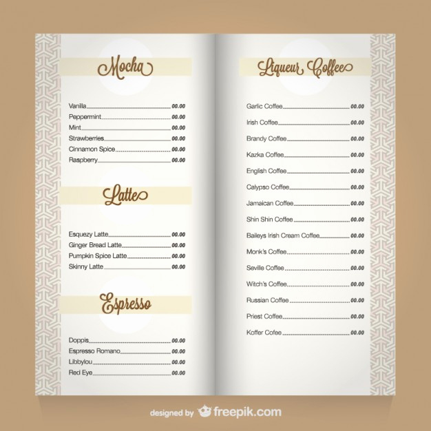 Coffee Shop Menu Template Free Luxury Coffee Menu Template Vector