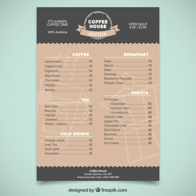 Coffee Shop Menu Template Free Luxury Elegant Coffee Shop Menu Template Vector