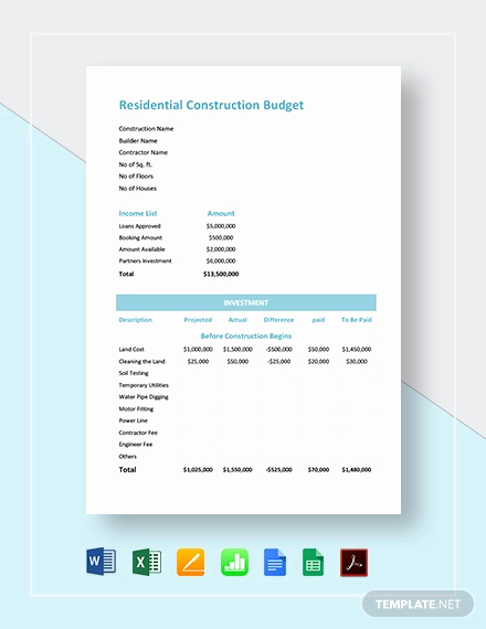 Commercial Construction Budget Template Fresh 13 Construction Bud Templates Docs Pdf Excel