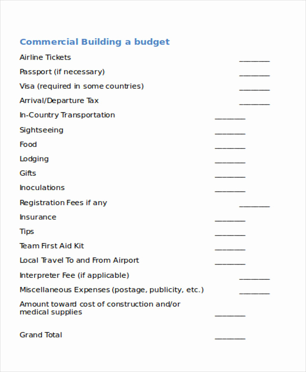 Commercial Construction Budget Template Inspirational Building Bud Templates 5 Free Word Pdf format