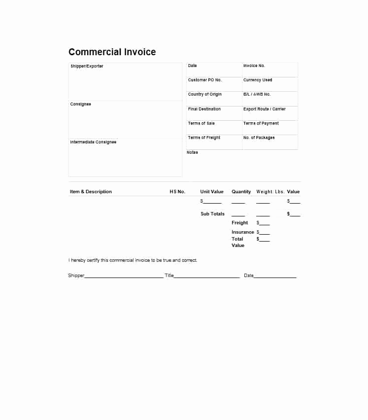 Commercial Invoice Template Word Elegant 44 Blank Mercial Invoice Templates [pdf Word