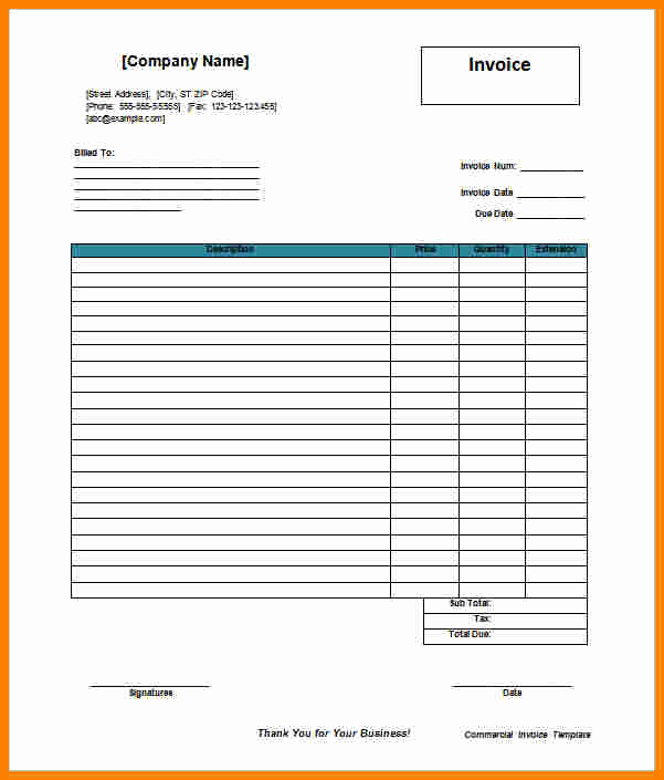 Commercial Invoice Template Word Fresh 5 Billing Templates Free Word