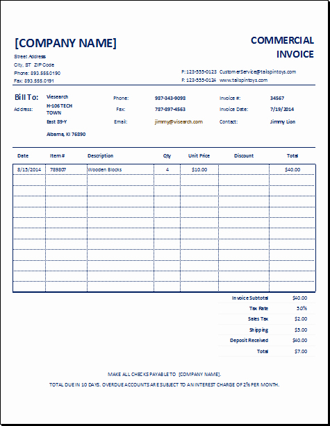 Commercial Invoice Template Word Luxury 10 Mercial Invoice Templates
