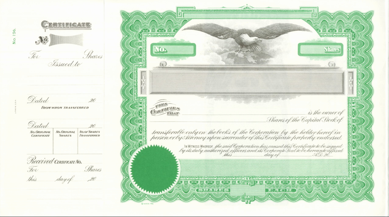 Common Stock Certificate Template New Stock Certificate Template