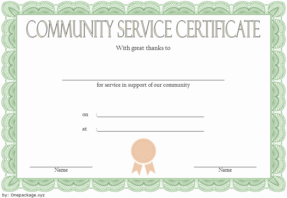 Community Service Hours Certificate Template Inspirational Munity Service Hours Certificate Template Free 1