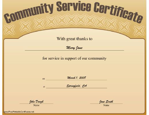Community Service Hours Certificate Template Luxury This Munity Service Certificate Expresses Great Thanks