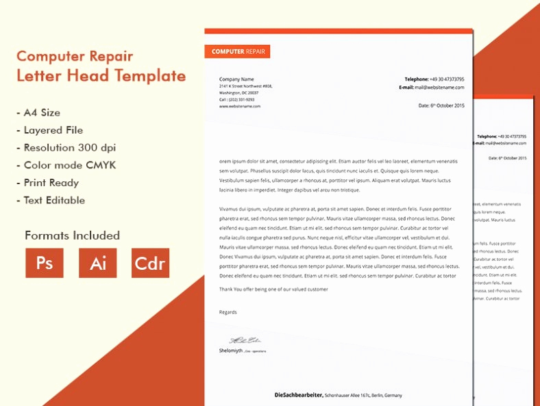 Computer Repair Invoice Template Awesome Glittering Puter Repair A4 Letterhead Template