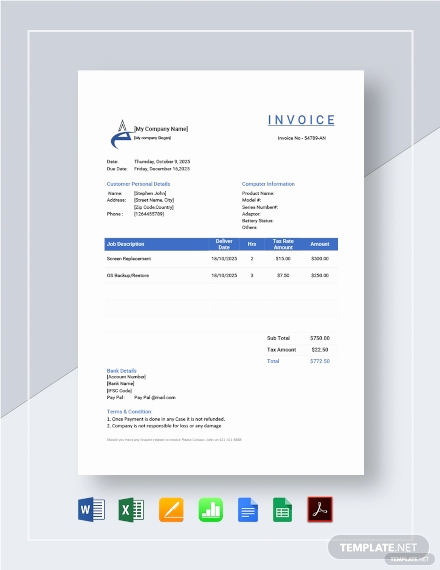 Computer Repair Invoice Template Beautiful 105 Free Invoice Templates Pdf Word Excel