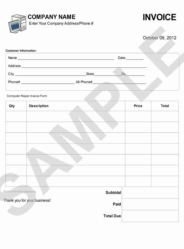 Computer Repair Invoice Template Fresh Puter Repair Invoice Template