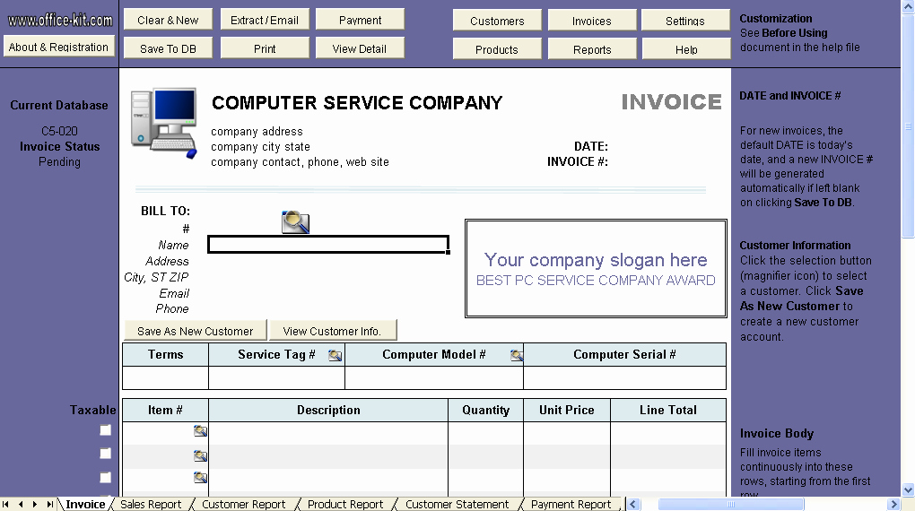 Computer Repair Invoice Template Lovely Puter Service Invoice Template Invoice Manager for Excel